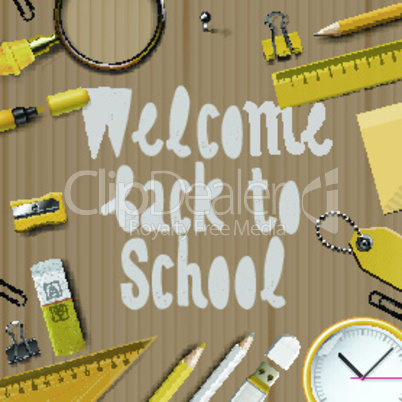 Welcome Back to school template with school supplies on cardboard texture background, vector illustration.
