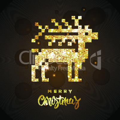 Merry Christmas greeting card with gold shiny reindeer, vector illustration.