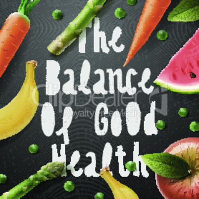 The balance of good health, healthy lifestyle background, vector illustration.