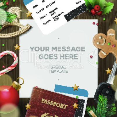 Winter holiday, Christmas travel template, wooden background,  illustration.