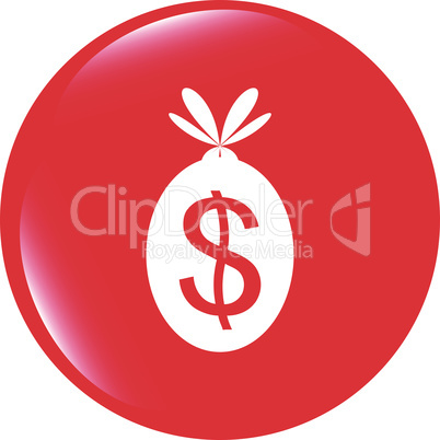 vector icon button money sack isolated on white