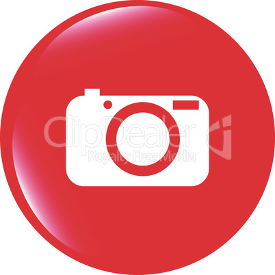 vector Camera icon on round internet button original illustration