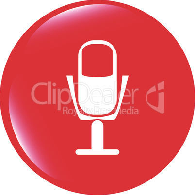 vector microphone icon web button isolated on white background