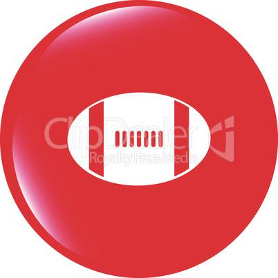 Football ball icon web button vector illustration