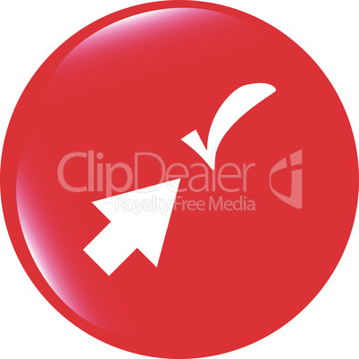 computer button with arrow and check mark, web icon isolated on white vector illustration