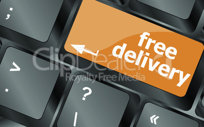 free delivery key on laptop keyboard keys, vector illustration