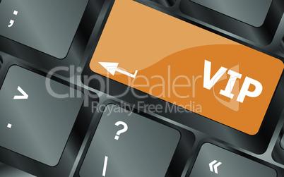 VIP written button keys on computer keyboard, vector illustration