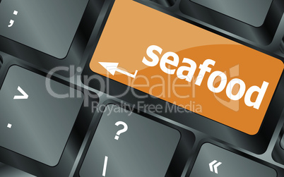 keyboard key layout with sea food button, vector illustration