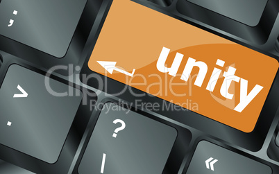 unity word on computer keyboard pc key, vector illustration