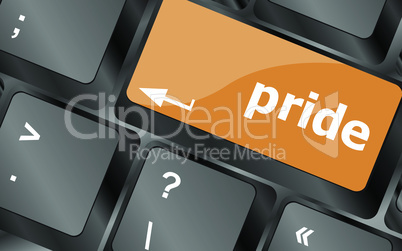 Computer keyboard key with pride word, vector illustration