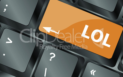 keys saying lol on keyboard key, vector illustration