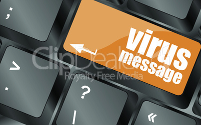 Computer keyboard with virus message key, vector illustration