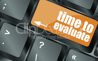 time to evaluate word on computer keyboard - social network concept, vector illustration