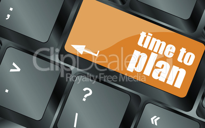 future time to plan concept with key on computer keyboard, vector illustration