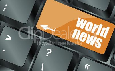 words world news on computer keyboard key, vector illustration