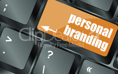 personal branding on computer keyboard key button, vector illustration