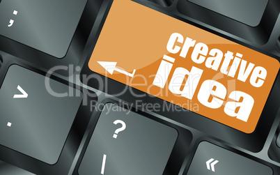 creative idea on computer keyboard key button, vector illustration