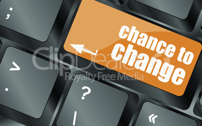 chance to change key on keyboard showing business success, vector illustration