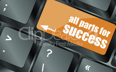 all parts for success button on computer keyboard key, vector illustration