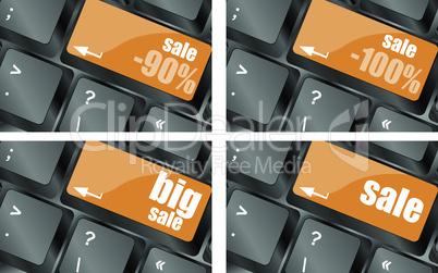 A computer keyboard with keys sale, online sale, vector illustration