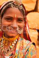 Traditional Indian girl smiling happily