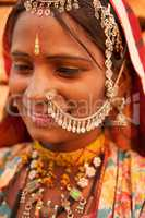 Traditional Indian woman smiling