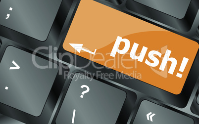 push key on computer keyboard, business concept, vector illustration