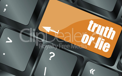 truth or lie button on computer keyboard key, vector illustration
