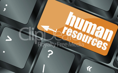 human resources button on computer keyboard key, vector illustration
