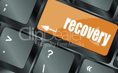 key with recovery text on laptop keyboard button, vector illustration