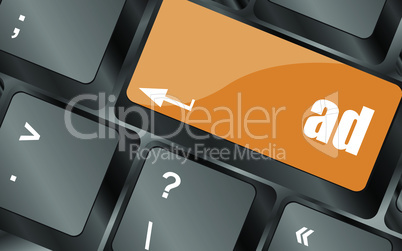 Marketing concept: computer keyboard with word Ad, vector illustration