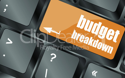budget breakdown words on computer pc keyboard, vector illustration
