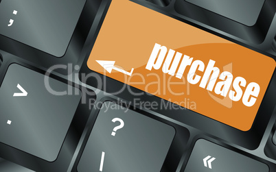 purchase key in place of enter keyboard button, vector illustration
