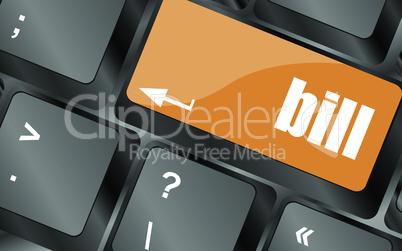 bill button on the keyboard keys, vector illustration