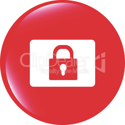 vector closed padlock icon web sign isolated on white