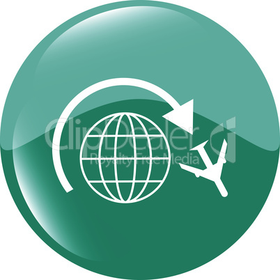Globe and airplane travel web icon isolated on white vector illustration