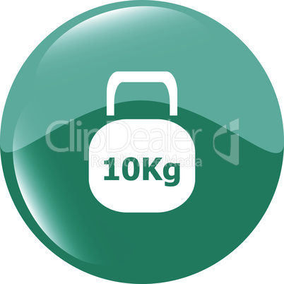 Weight sign icon. 10 kilogram (kg). Sport symbol. Fitness vector illustration