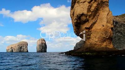 A fascinating boat trip under the cliffs of San Benedicto island in the Pacific ocean, Mexico