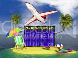 departures board  on a tropical island