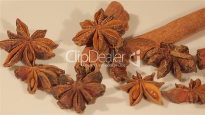 Macro view of cinnamon and anise spices