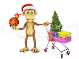 Monkey with cap of Santa
