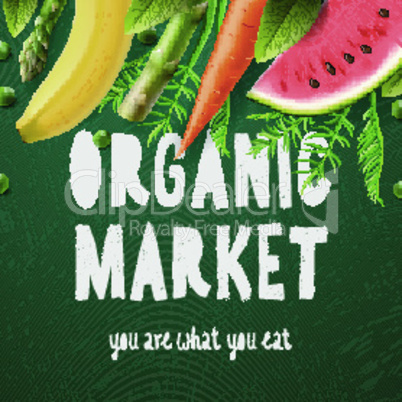 Organic food market, you are what you eat, vector illustration.