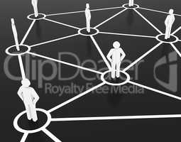 Group of people communicate in the commercial and business network