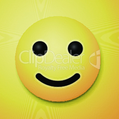 Happy emoticon, emoji smile symbol, yellow background, vector illustration.