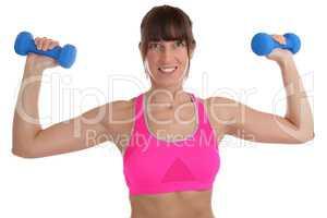 Fitness Workout Frau beim Sport Training mit Hanteln Übung Rüc