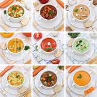 Collage gesunde Ernährung Suppe Suppen Tomatensuppe Gemüse Gem