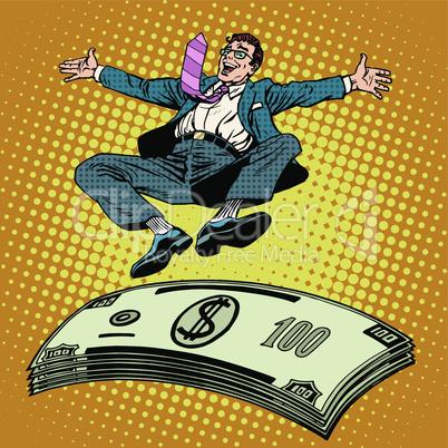 Business success businessman money trampoline