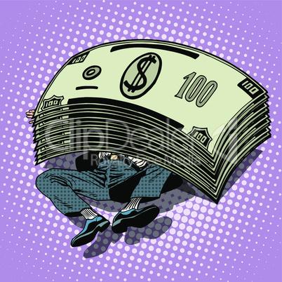 Businessman buried money wealth financial success