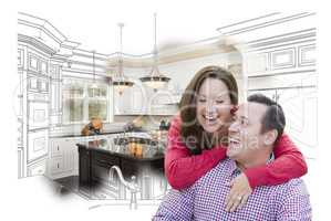 Laughing Couple With Kitchen Design Drawing and Photo Behind