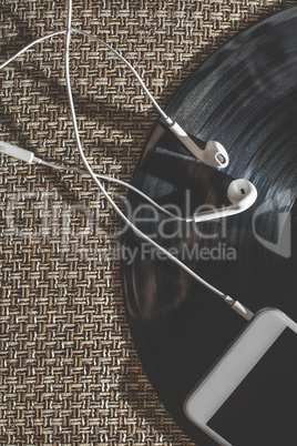 Smartphone and vintage LP